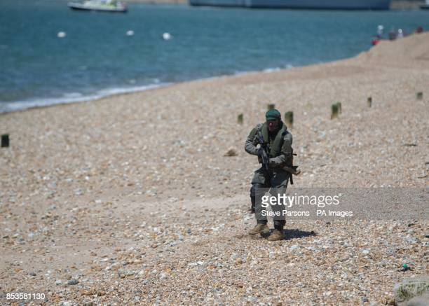 British Marines and their Dutch counterparts demonstrate a beach assault near Southsea Common in Hampshire to mark the 70th Anniversary of the DDay...