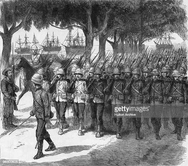 British Marines landing at Ismailia on the west bank of the Suez Canal in Egypt during the 1882 AngloEgyptian War From a sketch by Frederic Villiers...