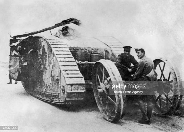 British Mark I tank, the first ever military vehicle of this kind, in France, November 1916.