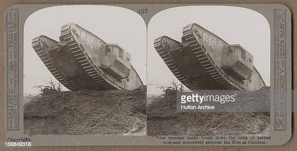 A British Mark IV tank on the battlefield at Cambrai France World War One 1917
