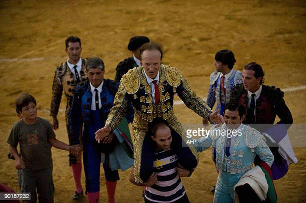 British matador Frank Evans is carried from the ring following a bullfight in Benalmadena southern Spain on August 30 2009 A 67yearold former butcher...