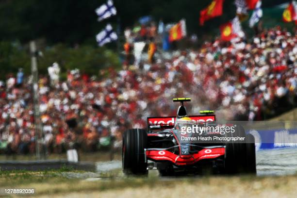 British McLaren Formula One driver Lewis Hamilton drives his MP4-22 car during 2007 Hungarian Grand Prix held at the Hungaroring near Budapest on 05...