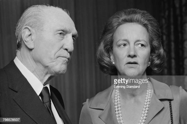 British media executive Sidney Bernstein with American publisher Katharine Graham Bernstein is the founder of Granada Television Graham is chairwoman...