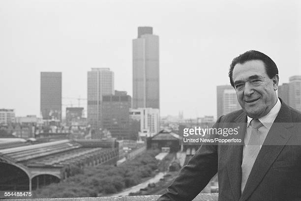 British media magnate and owner of The British Printing Corporation Robert Maxwell pictured on the roof of his office in London on 11th August 1983