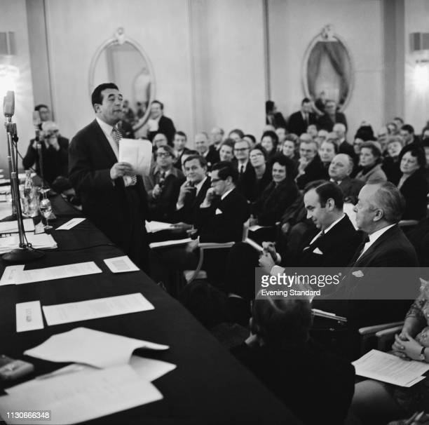 British media proprietor and Member of Parliament Robert Maxwell attempting to buy the 'News of the World' newspaper UK 7th January 1969 seated in...
