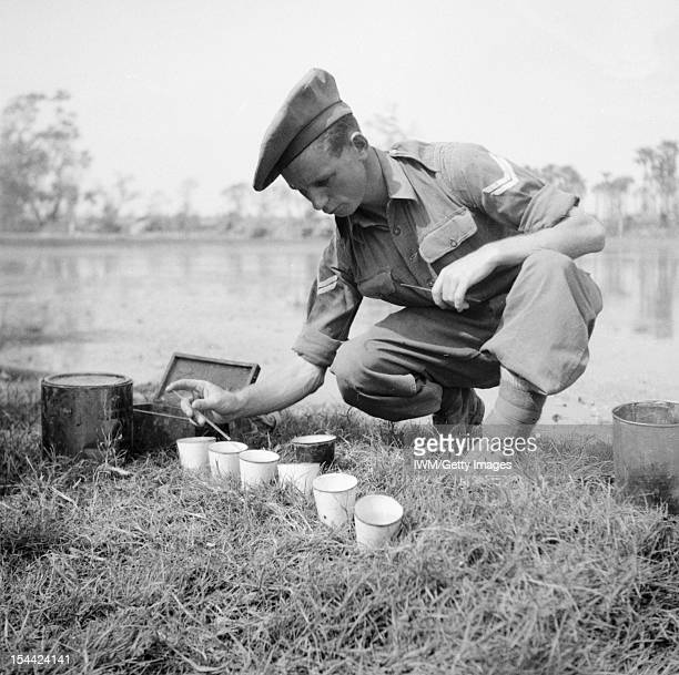 British Medical Services In The Second World War Hygiene in the Field An RAMC orderly testing to see if the right quantity of chlorine is present in...