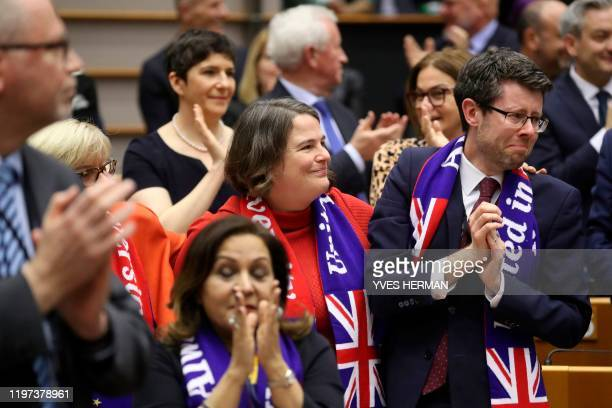British Member of European Parliament of the Progressive Alliance of Socialists and Democrats group Rory Palmer and Jude KirtonDarling react after...