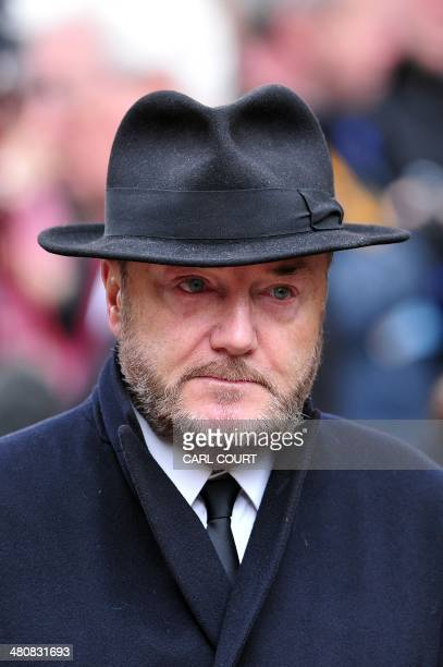 British member of parliament George Galloway attends the funeral of British veteran leftwing politician Tony Benn at St Margaret's Church in central...