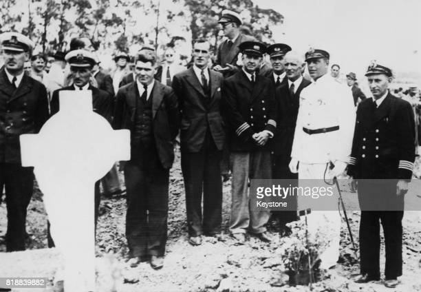 British mercantile officers who were held prisoner aboard the German cruiser 'Admiral Graf Spee' during the Battle of the River Plate attend the...