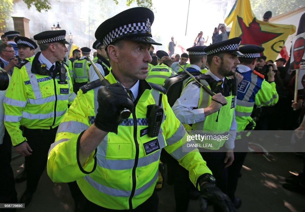 police brandish