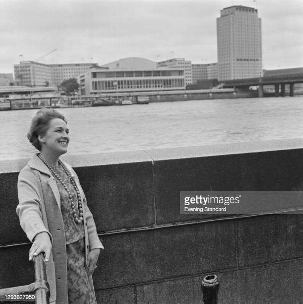 British mezzo-soprano Josephine Veasey across the River Thames from the Royal Festival Hall in London, UK, 27th June 1966.