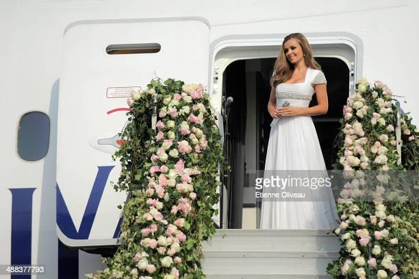 British mezzosoprano Katherine Jenkins performs the Leonard Cohen classic Hallelujah on the flower adorned steps of British Airways new Boeing 787...