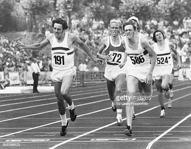 British middle distance runner Steve Ovett crosses the finish line ahead of Willi Wulbeck of West Germany and Erwin Gohlke of German Democratic...