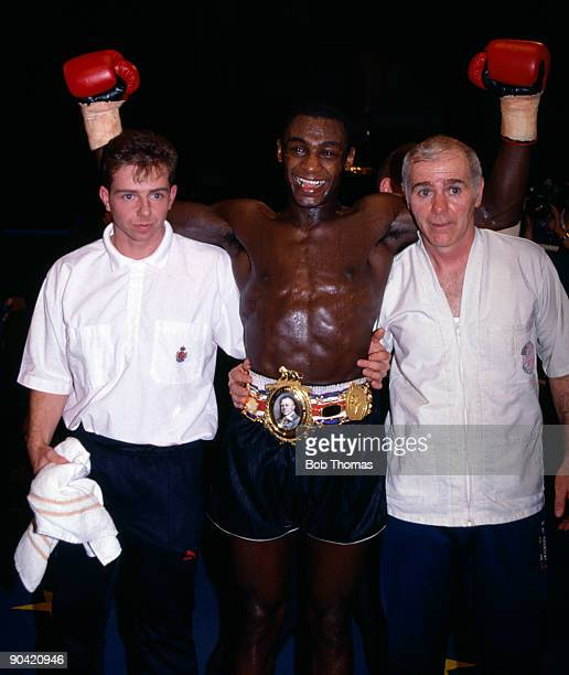 British Middleweight boxer Herol Graham wearing the Lonsdale Belt after defeating Johnny Melfah to win the British Middleweight Championship title at...
