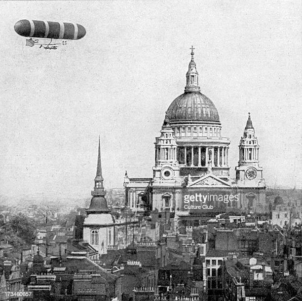 British military airship rounding St Paul's Cathedral London October 1907