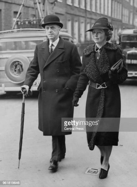 British military officer Sir Frederick Sykes and Lady Isabel Sykes attend the wedding of Randolph Churchill and Pamela Digby at St John's in...