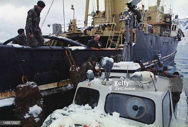 A British military patrol stops a commercial ship off South Georgia during the Falklands War May 1982