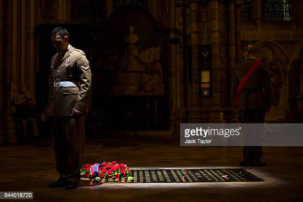 British Military personnel stand at the Grave of the Unknown Warrior during a vigil to commemorate the centenary of the Battle of the Somme at...