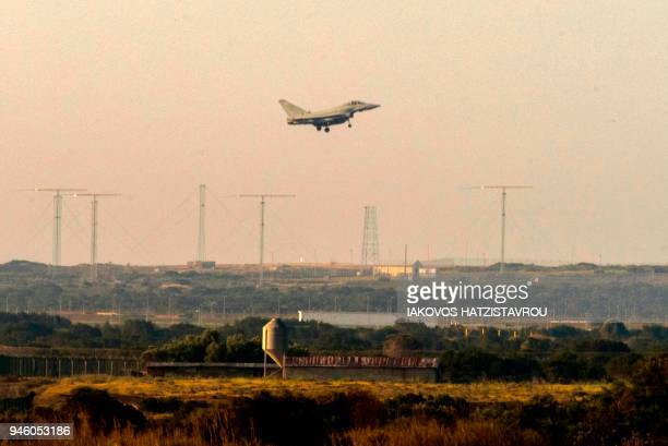 British military Typhoon aircraft lands at the Sovereign Base Area of Akrotiri a British overseas territory located ten kilometres west of the...
