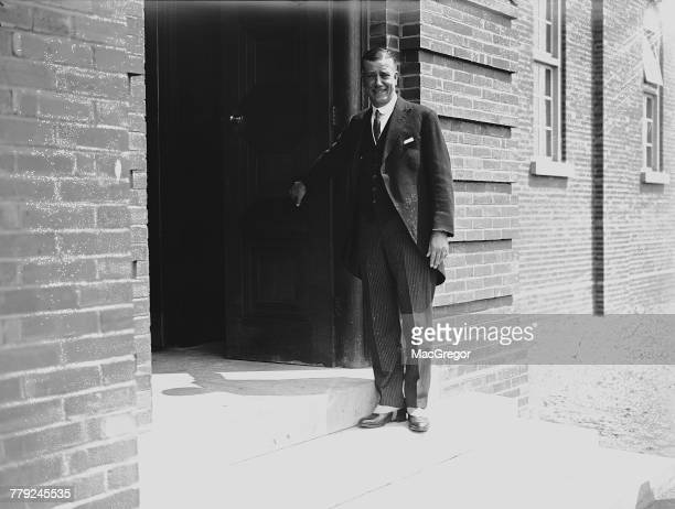 British mining engineer Sir John Cadman at the new Department of Petroleum Technology which he has just opened at Birmingham University Birmingham UK...