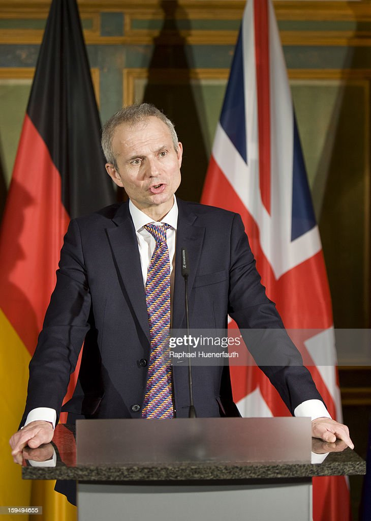 British Minister for Europe David Lidington speaks during a press conference during the third German-British consultations on Europe on January 14, 2013 in Berlin, Germany. The focus of the consultation are the Economic and Monetary Union and for both views on the future of the European Union.