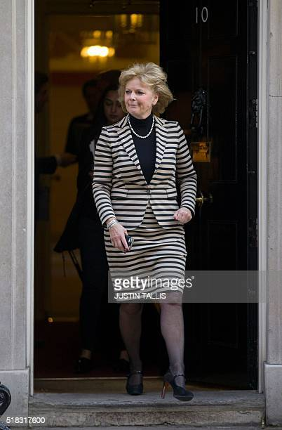 British Minister for Small Business Industry and Enterprise Anna Soubry leaves 10 Downing Street in London on March 31 as Prime Minister David...