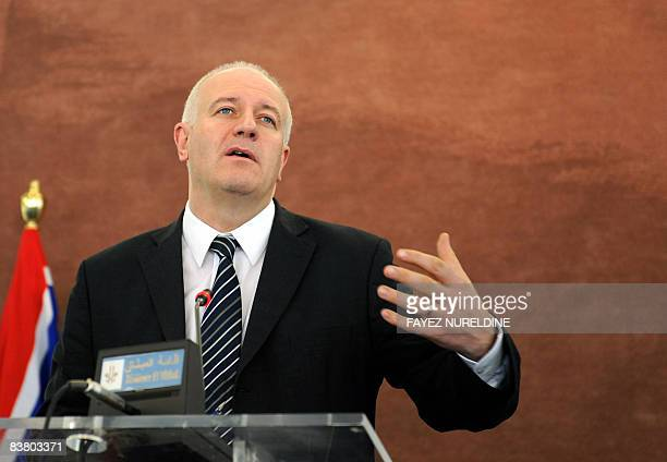 British Minister of State Bill Rammell gestures during a joint press conference with Algerian Minister for Maghreb and African Affairs Abdelkader...