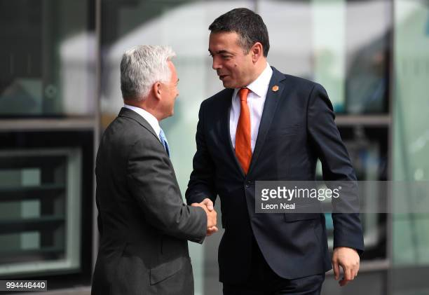 British Minister of State for Europe and the Americas Alan Duncan greets Macedonian Minister of Foreign Affairs Nikola Dimitrov at the Crystal Centre...