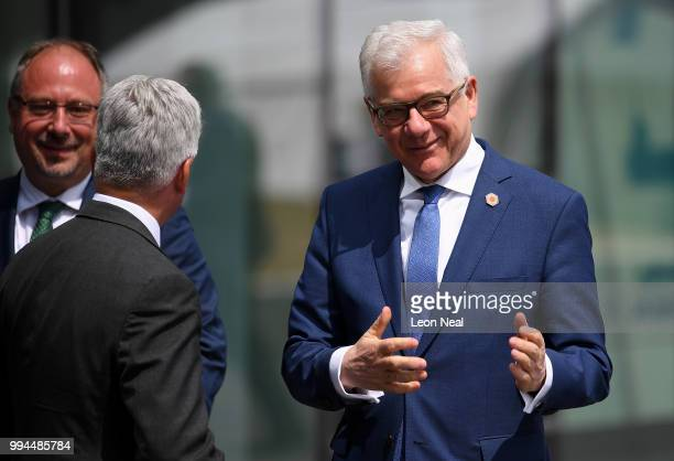 British Minister of State for Europe and the Americas Alan Duncan greets Polish Minister of Foreign Affairs Jacek Czaputowicz at the Crystal Centre...