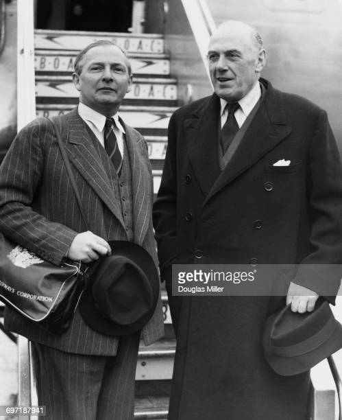 British Minister of State for Foreign Affairs Selwyn Lloyd with Colonial Secretary Oliver Lyttelton at London Airport 27th February 1954 Lloyd is...