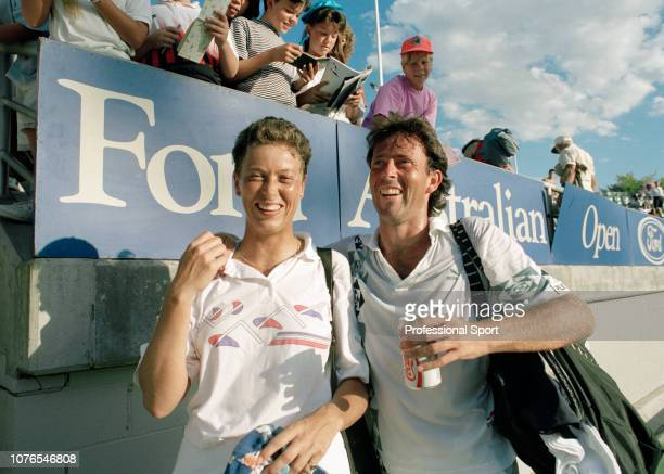 British mixed doubles pair Jo Durie and Jeremy Bates at Melbourne Park in Melbourne Australia circa January 1991