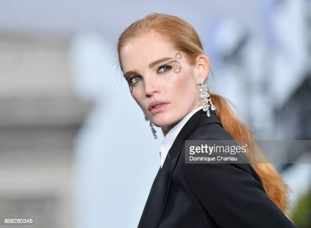 British model Alexina Graham A model walks the runway during the Le Defile L'Oreal Paris show as part of the Paris Fashion Week Womenswear...