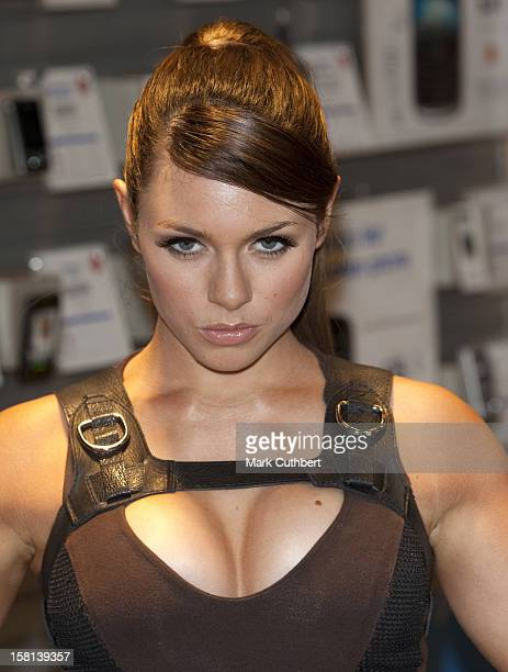 British Model Alison Carroll Posing As Lara Croft At The Launch Of The New Sony Mobile Phone The W910 Gaming Edition Which Comes PreLoaded With The...