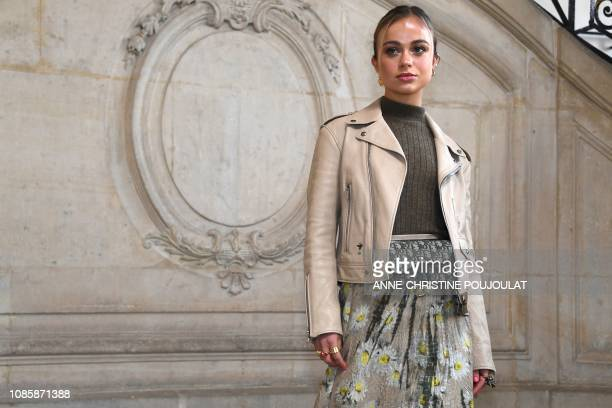 British model Amelia Windsor poses during a photocall prior to the 2019 SpringSummer Haute Couture collection fashion show by Christian Dior in Paris...