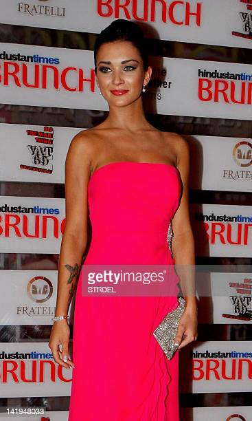 British model and actress Amy Jackson poses during The Hindustan Times Brunch event in Mumbai on March 26 2012 AFP PHOTO/STR