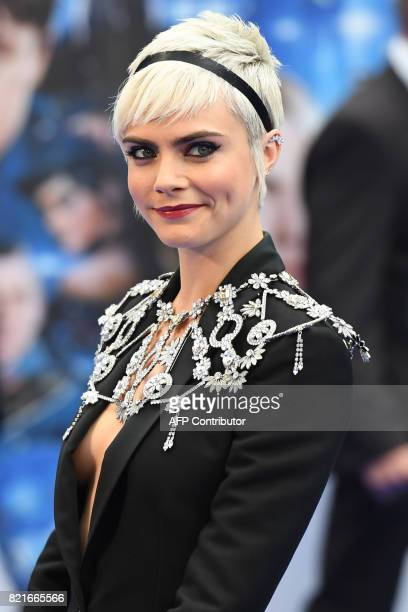 British model and actress Cara Delevingne poses for a photograph upon arrival for the European premiere of 'Valerian and The City of a Thousand...