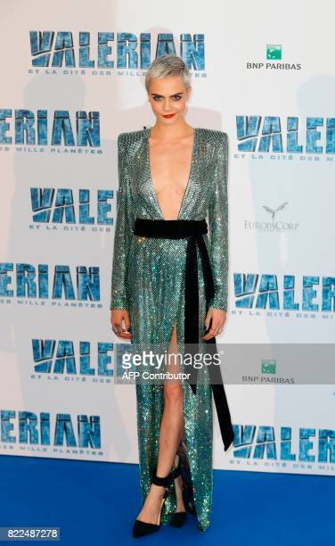 British model and actress Cara Delevingne poses for a photograph upon arrival for the prepremiere of the film 'Valerian and The City of a Thousand...