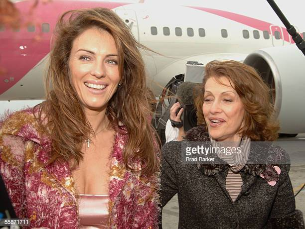 British model and actress Elizabeth Hurley and Evelyn Lauder founder and chairman of the Breast Cancer Research Foundation and Senior Vice President...