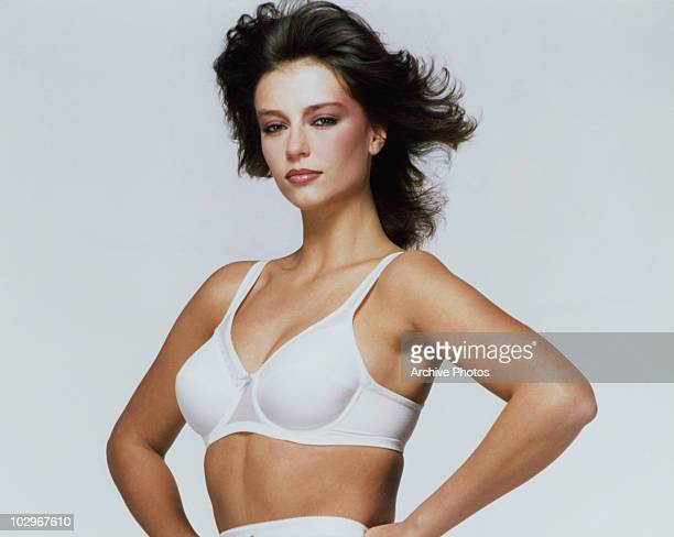 British model and actress Rachel Ward modelling a bra circa 1980