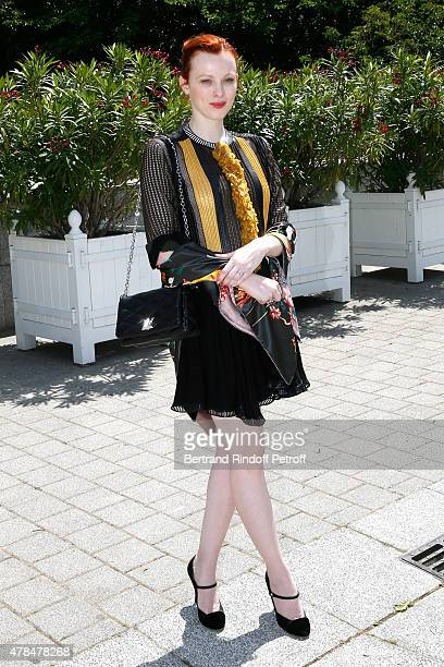 British Model ans Singer Karen Elson attends the Louis Vuitton Menswear Spring/Summer 2016 show as part of Paris Fashion Week on June 25 2015 in...