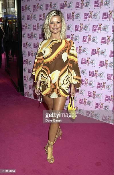 British model Jakki Degg arrives at the UK premiere of the film Legally Blonde 2 held at the Warner Village Cinema West End on July 23 2003 in London