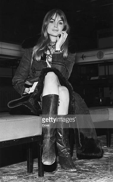 British model Jean Shrimpton at London Airport 8th Jan 1968