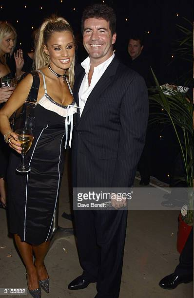 British model Jordan and British television presenter Simon Cowell attend the after party for the British Comedy Awards held at the London Television...
