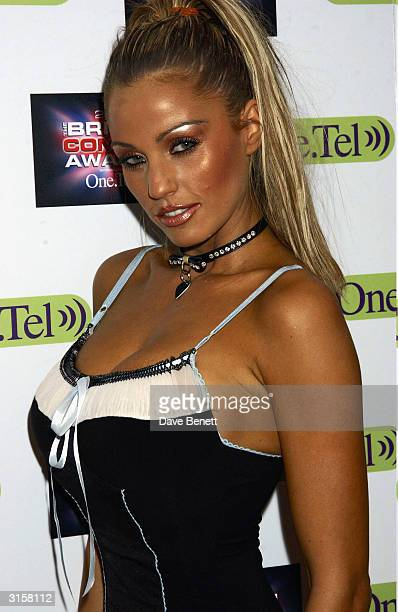 British model Jordan arrives at the British Comedy Awards held at the London Television Studios on December 10 2003 in London