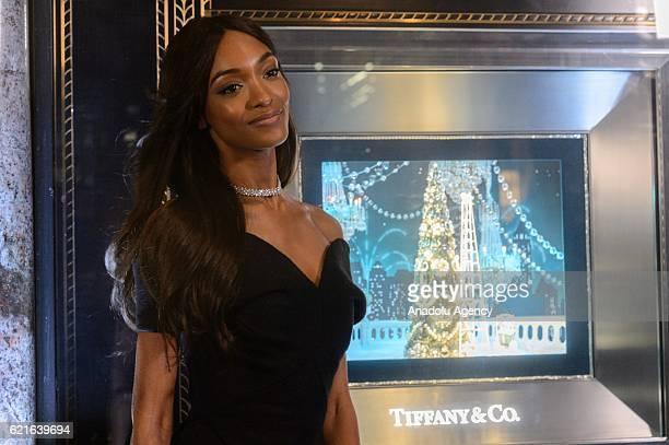 British model Jourdan Dunn unveils the 2016 Tiffany Christmas windows at the Old Bond Street store, marking the opening of the Tiffany Christmas shop...