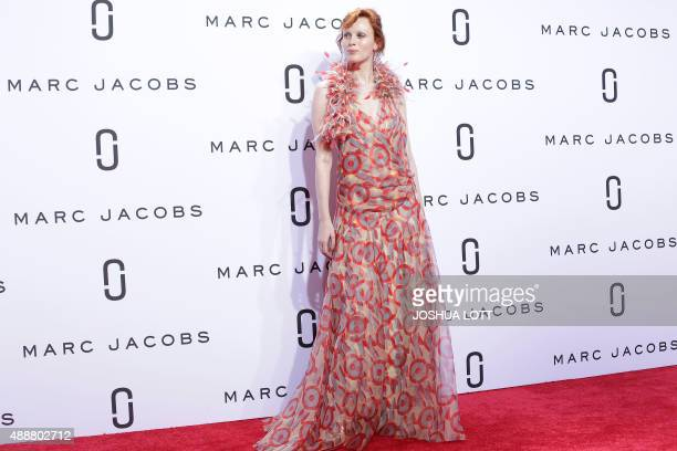 British model Karen Elson presents a creation by Marc Jacobs during the Spring/Summer 2016 collection at New York Fashion Week in New York on...