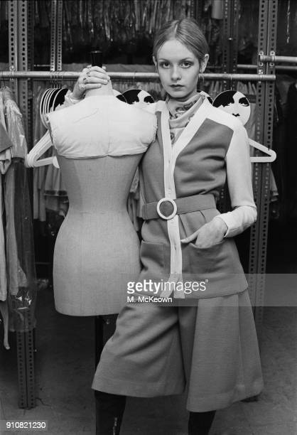 British model Leslie Lawson, aka Twiggy, modelling her own collection, UK, 19th January 1968.