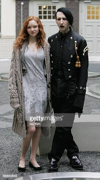 British model Lily Cole and American singer Marilyn Manson pose for a portrait session to announce the making of the movie Phantasmagoria during the...