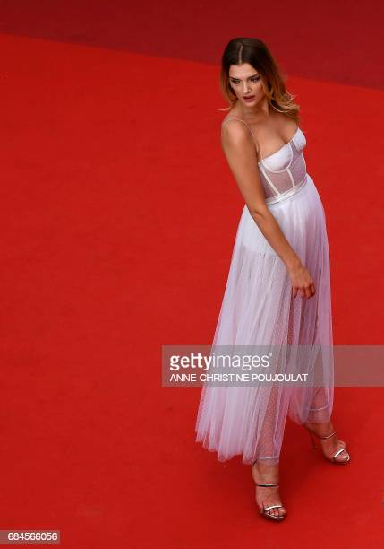 British model Lily Donaldson poses as she arrives on May 18, 2017 for the screening of the film 'Loveless' at the 70th edition of the Cannes Film...