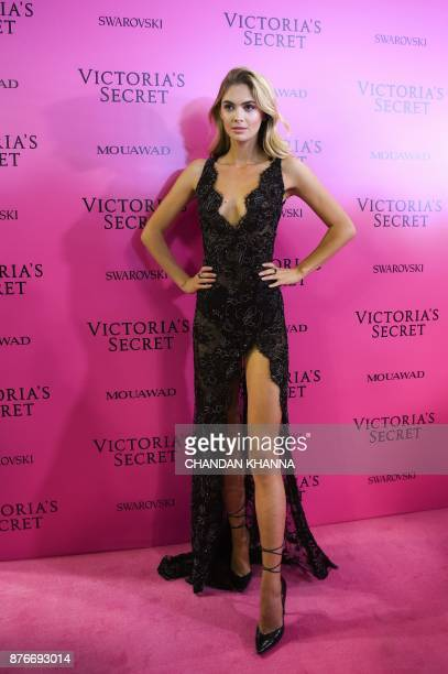 British model Megan Williams poses as she arrives for the after party of the 2017 Victoria's Secret Fashion Show in Shanghai on November 20 2017 /...